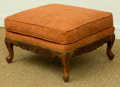 Furniture , A George III-Style Upholstered Hardwood Stool, late 20th century. 15 h x 25 w x 25 d inches (38.1 x 63.5 x 63.5 cm). ...