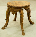 Furniture , A Swedish Renaissance Revival Carved Pine Piano Stool, late 19th century. 18 h x 22 w x 22 d inches (45.7 x 55.9 x 55.9 cm)...