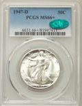 Walking Liberty Half Dollars: , 1947-D 50C MS66+ PCGS. CAC. PCGS Population: (1447/64 and 154/9+). NGC Census: (981/53 and 22/7+). CDN: $125 Whsle. Bid for...