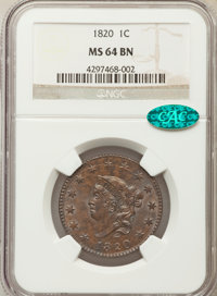 1820 1C Large Date MS64 Brown NGC. CAC. NGC Census: (160/176). PCGS Population: (214/154). CDN: $1,050 Whsle. Bid for pr...