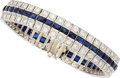 Estate Jewelry:Bracelets, Diamond, Synthetic Sapphire, Platinum Bracelet, circa 1940. ...