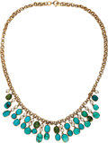 Estate Jewelry:Necklaces, Turquoise, Cultured Pearl, Gold Necklace. ...