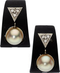 Estate Jewelry:Earrings, Diamond, Cultured Pearl, White Gold, Patinated Steel Earrings,Marsh. ... (Total: 2 Items)