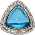 Estate Jewelry:Rings, Blue Topaz, Diamond, White Gold Ring, Eli Frei. ...