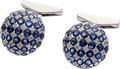 Estate Jewelry:Cufflinks, Sapphire, Diamond, White Gold Cuff Links. ... (Total: 2 Items)