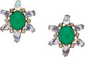 Estate Jewelry:Earrings, Colored Diamond, Diamond, Chrysoprase, Moonstone, White GoldEarrings. ... (Total: 2 Items)