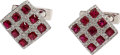 Estate Jewelry:Cufflinks, Ruby, Diamond, White Gold Cuff Links. ... (Total: 2 Items)