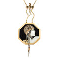 Estate Jewelry:Necklaces, Mother-of-Pearl, Black Onyx, Diamond, Gold Necklace, Erté. ...