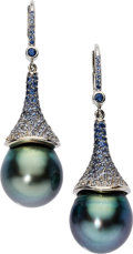 Estate Jewelry:Earrings, Black South Sea Cultured Pearl, Sapphire, White Gold Earrings. ...(Total: 2 Items)