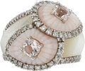 Estate Jewelry:Rings, Kunzite, Mother-of-Pearl, Diamond, White Gold Ring. ...