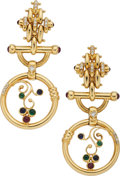 Estate Jewelry:Earrings, Diamond, Multi-Stone, Gold Earrings. ... (Total: 2 Items)