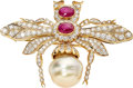 Estate Jewelry:Brooches - Pins, Diamond, Ruby, Freshwater Cultured Pearl, Gold Brooch. ...