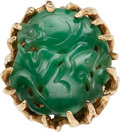 Estate Jewelry:Rings, Jadeite Jade, Gold Ring. . ...