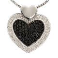 Estate Jewelry:Necklaces, Colored Diamond, Diamond, White Gold Pendant-Necklace. ...