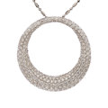 Estate Jewelry:Necklaces, Diamond, White Gold Pendant-Necklace. ...
