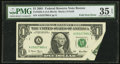 Error Notes:Foldovers, Fr. 1926-A $1 2001 Federal Reserve Note. PMG Choice Very Fine 35EPQ.. ...