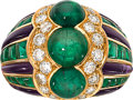Estate Jewelry:Rings, Emerald, Diamond, Amethyst, Gold Ring, Bvlgari, French. ...