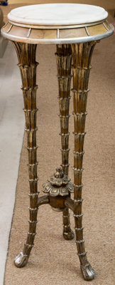 A Neoclassical-Style Carved and Silvered Wood Fern Stand with Marble Top 42 h x 16 di inches (106.7 x 40.6 cm)