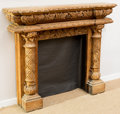 Furniture , An American Beaux Arts Carved Oak Fireplace Mantle, late 19th century. 53-1/2 h x 64 w x 15 d inches (135.9 x 162.6 x 38.1 c...