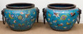 Asian:Chinese, A Massive Pair of Chinese Cloisonné and Copper Jardinières, 20thcentury. 30-1/2 inches high x 45 inches diameter (77.5 x 11...(Total: 2 Items)