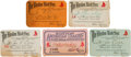 Football Collectibles:Others, 1927-31 Joe Carr Boston Red Sox Season Passes Lot of 5 from The Joe Carr Find....