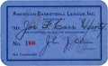 Basketball Collectibles:Others, 1929-30 Joe Carr American Basketball League Season Pass from The Joe Carr Find. ...
