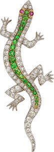 Estate Jewelry:Brooches - Pins, Demantoid Garnet, Diamond, Ruby, Platinum-Topped Gold Brooch. ...