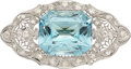 Estate Jewelry:Brooches - Pins, Aquamarine, Diamond, Platinum Brooch. ...