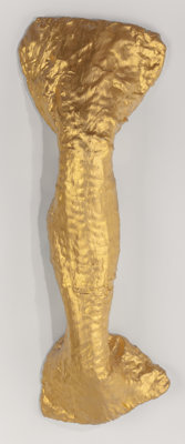 Lynda Benglis (b. 1941) Flounce, 1978 Gold leaf, gesso, plaster, cotton, and chicken wire 46 x 16