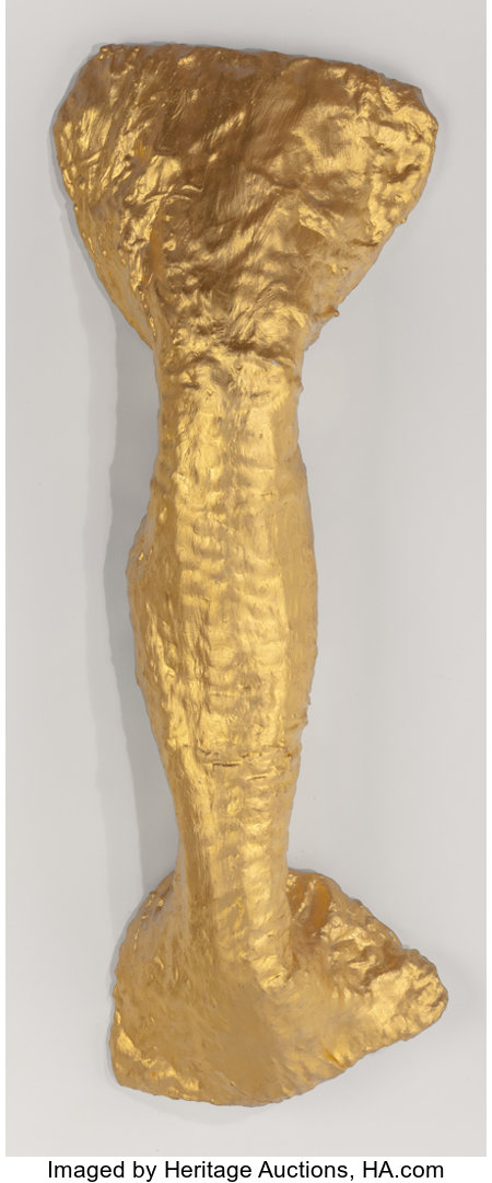 Lynda Benglis (b. 1941) Flounce, 1978 Gold leaf, gesso, plaster, cotton, and chicken wire 46 x 16-1/2 x 7 inches (116...