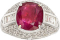 Estate Jewelry:Rings, Burma Ruby, Diamond, White Gold Ring. ...