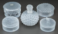 Art Glass:Lalique, Four Lalique Glass Boxes and a Perfume. Post-1945. EngravedLalique, France. Ht. 5 in. (tallest, perfume). ... (Total: 5Items)