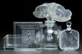 Art Glass:Lalique, Two Lalique Clear and Frosted Glass Vanity Items. IncludingDuncan box ,Hittite perfume, and Anemoneperfume, al... (Total: 3 Items)