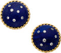 Estate Jewelry:Earrings, Lapis Lazuli, Diamond, Gold Earrings, Carvin French. ... (Total: 2Items)