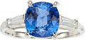 Estate Jewelry:Rings, Sapphire, Diamond, Platinum Ring, Carvin French. ...