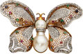 Estate Jewelry:Brooches - Pins, Diamond, Multi-Stone, Freshwater Cultured Pearl, Gold Brooch. ...