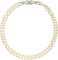 Estate Jewelry:Necklaces, Cultured Pearl, Diamond, White Gold Necklace, Double-Clip-Brooch....