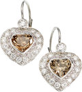 Estate Jewelry:Earrings, Colored Diamond, Diamond, White Gold Earrings. ... (Total: 2 Items)