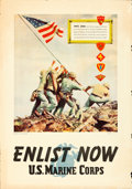 """Movie Posters:War, World War II Propaganda (U.S. Government Printing Office, 1945).U.S. Marines Recruiting Poster (28"""" X 40"""") """"Enlist Now,"""" To..."""