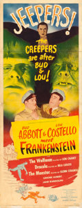 "Movie Posters:Horror, Abbott and Costello Meet Frankenstein (Universal International, 1948). Insert (14"" X 36"").. ..."