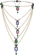 Estate Jewelry:Necklaces, Victorian Multi-Stone, Diamond, Seed Pearl, Silver-Topped Gold Necklace, French. ...
