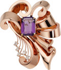 Estate Jewelry:Brooches - Pins, Retro Amethyst, Diamond, Pink Gold Brooch. ...
