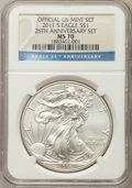 Modern Bullion Coins, 2011-S $1 Silver Eagle, 25th Anniversary Set MS70 NGC. Official U.S. Mint Set. NGC Census: (2726). PCGS Population: (852)....