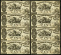 Obsoletes By State:Louisiana, Shreveport, LA - Lot of 2 State of Louisiana Uncut $5-$5-$5-$5 Oct. 10, 1862 Cr. 10 Partial Sheets. . ... (Total: 2 notes)