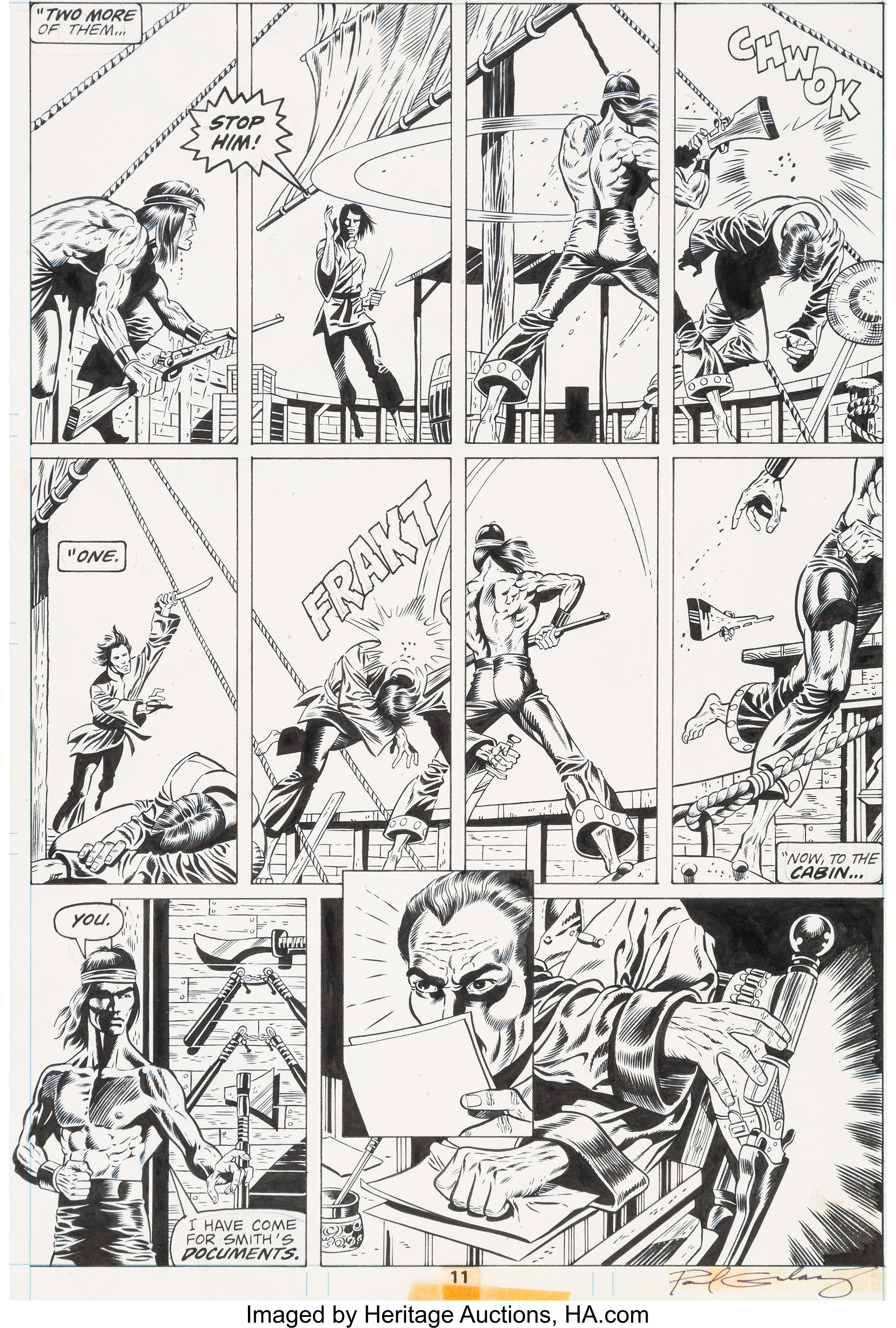 Paul Gulacy and Dan Adkins Master of Kung Fu #39 Page 11 Original