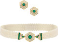 Estate Jewelry:Suites, Emerald, Diamond, Cultured Pearl, Gold Jewelry Suite. ... (Total: 3Items)