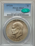Eisenhower Dollars, 1972-S $1 Silver MS67 PCGS. CAC. PCGS Population: (7080/1848). NGC Census: (1963/452). Mintage 2,193,056....