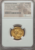 Ancients:Byzantine, Ancients: Heraclius (AD 610-641), with Heraclius Constantine (AD613-641). AV solidus (4.44 gm). NGC Choice MS 5/5 - 5/5....