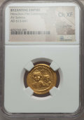 Ancients:Byzantine, Ancients: Heraclius (AD 610-641), with Heraclius Constantine (AD613-641). AV solidus. NGC Choice XF, light graffito....