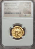 Ancients:Byzantine, Ancients: Tiberius II Constantine (AD 578-582). AV solidus (4.47gm). NGC Choice MS 4/5 - 5/5....